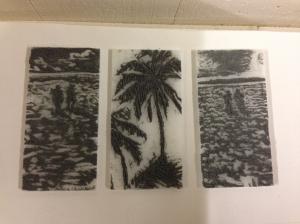 SC twilight beach and palm tree